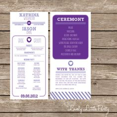 Vintage Style Wedding Program- DIY Printable - Lovely Little Party - You Choose Colors. $25.00, via Etsy.