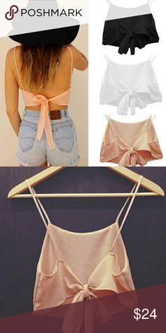 "✨Coming soon✨ Pink Backless Crop Top Super trendy pink backless crop top! Goes great with a pair of high waisted jeans shorts. Great quality ✨Material: Cotton + Polyester ✨Color: Light Pink ✨NWT ▪️Use the ""Buy Now"" or ""Add to Bundle"" feature to select a size & purchase. • If interested in being notified of the arrival, please @ me below• Last photo shows the front. Tops Crop Tops"