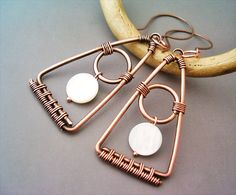 Wire Wrapped Triangle Earrings Copper and Nacre by GearsFactory