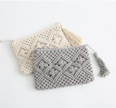 Items similar to Custom order specially fo Mary Handmade macrame clutch bag with starp - Boho macrame bag-cotton rope tassel bag width height on Etsy Crochet Clutch, Crochet Purses, Crochet Bags, Crochet Handbags, Macrame Purse, Macrame Knots, Cotton Rope, Cotton Bag, Macrame Projects
