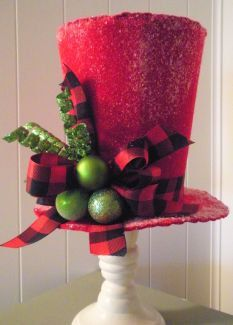 items similar to handmade felt top hat tree topper or decor on etsy - Top Hat Christmas Decorations