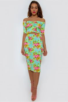 Clothing @ The Fashion Bible. The Fashion Bible features a fantastic range of Fashion clothing from great Brands. Visit The Fashion Bible online today! Fashion Bible, Strapless Dress, Bodycon Dress, Co Ord, Bardot, Get Dressed, Fashion Outfits, Green, Flowers