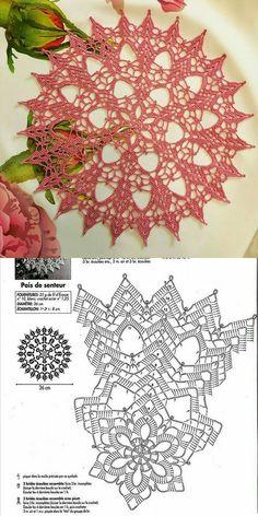 Free Crochet Doily Patterns, Tunisian Crochet Patterns, Crochet Mandala, Crochet Squares, Filet Crochet, Diy Crochet, Crochet Crafts, Knitting Patterns, Doilies Crafts