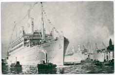 Postcard Swedish America Line Motorfartygen Kungsholm-Gripsholm Steamship~107676