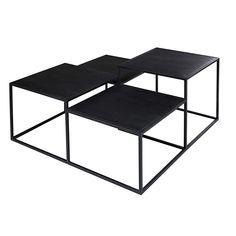 Table basse 4 plateaux en métal noir   Maisons du Monde