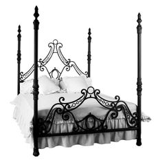 Corsican Queen Four poster Bed You'll Love | Wayfair ($4,600) ❤ liked on Polyvore featuring home, furniture, beds, queen furniture, queen bed, queen platform bed, queen post bed and queen bed platform