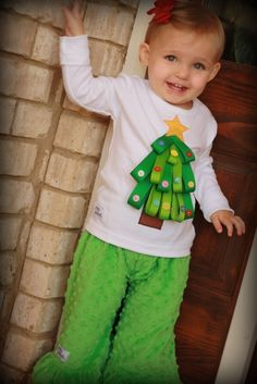 Ribbon and Button Ornaments Christmas Tree Tee Shirt Ribbon On Christmas Tree, Christmas Makes, Christmas Tree Ornaments, Holiday Fun, Christmas Crafts, Xmas Tree, Kids Christmas Outfits, Christmas Tee Shirts, Ugly Christmas Sweater
