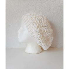 Crochet Lacy Slouch Hat in White, ready to ship. ($45) ❤ liked on Polyvore featuring accessories, hats, crochet patterns beanie, white beanie hat, slouchy beanie hat, white slouchy beanie and slouch hat