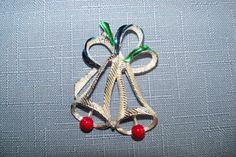 Vintage Brooch Christmas Bells Gerrys Silver Blue Green Gift Idea Holiday Special Occasion Birthday Stocking Stuffer