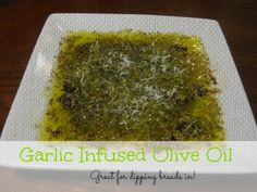 Garlic Infused Olive Oil Dipping Sauce for Breads  http://jennifersikora.com/2013/05/garlic-infused-olive-oil-dipping-sauce/