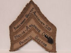 WWI US Army Shoulder patch rank of a Sgt. hand written with campaigns served in.