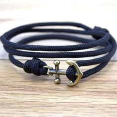 Handmade Nautical Anchor Charm Braceelet with Black Paracord - Summer Beach Fashion Unisex Jewelry Gift for Woman or man