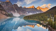 Moraine Lake at sunrise, Banff National Park, Canada. Beautiful Moraine Lake in , Moraine Lake, Rocky Mountains, The Tourist, Top Countries To Visit, Banff National Park Canada, Banff Canada, Highland Park Village, Fairmont Banff Springs, Sunrise Lake
