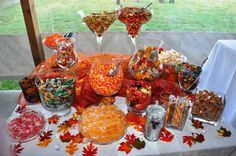 fall 1st birthday party ideas   This was a Fall themed candy bar. The candies were pretty easy to find ...