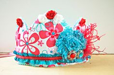 Circus Birthday Crown - Party Hat - Photo Prop - Pink Crown - Princess Dress Up - Birthday Hat