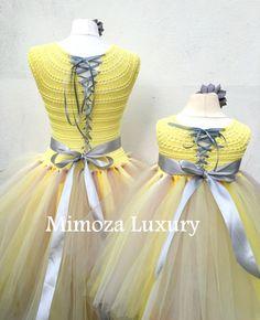 Mother Daughter Matching Dresses Adult tutu dress Bridesmaid Baby Girl  Crochet 4e86d247582c