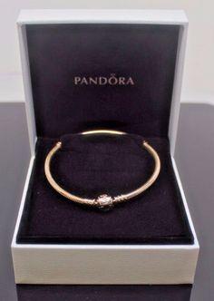 """nwot Authentic  PANDORA 14K GOLD 585 ALE 8""""/ 20cm Barrel Snap Clasp Bracelet  #PANDORA"""