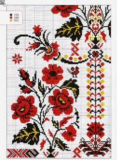 Folk Embroidery, Cross Stitch Embroidery, Cross Stitch Patterns, Snitches Get Stitches, Fibre And Fabric, Cross Stitch Flowers, Embroidery Techniques, Cross Stitching, Diy And Crafts