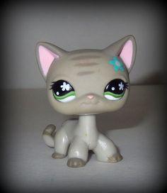 Littlest Pet Shop LPS CAT # 483 Blue Flower Green Eyes Gray Stripes Kitty