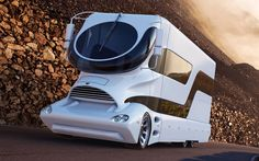 The world's most expensive motorhome has gone on sale in Dubai, covered in gold & worth The space-age eleMMent Palazzo comes com. Palazzo, Colani Truck, Luxury Mobile Homes, Luxury Motorhomes, Luxury Caravans, Luxury Camping, Luxury Travel, Luxury Cars, Most Expensive