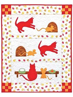 Sweet and fun quilt for animal lovers.   This darling quilt features 2 childhood playmates who grow up to be loving friends—they just happen to be a cat and a mouse! You can applique with your favorite method and the pattern includes full-size patter...