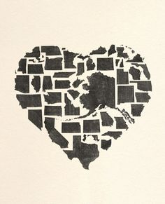 All the US states combined to make a heart <3