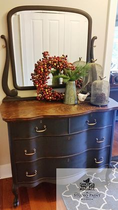 This shapely serpentine painted antique dresser with mirror has been painted in a premium Chalk Paint by Annie Sloan and clear waxed. The