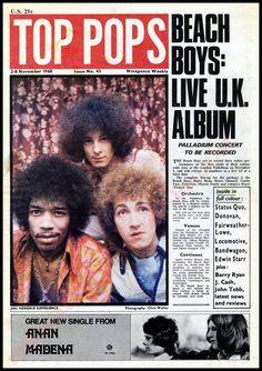 The Jimi Hendrix Experience front page, interviews and articles on Locomotive, The Bandwagon, Johnny Cash, Paul & Barry Ryan and Amen Corner. Rock And Roll History, Jimi Hendrix Experience, 60s Music, Music Paper, The Beach Boys, November 2, The Power Of Love, Music Magazines, Beach Tops