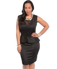 The Black Goddess Peplum Dress - Younique Couture