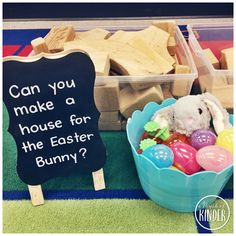 """Easter Activities for Kindergarten - An Easter Themed Building Invitation """"Can You Make a House for the Easter Bunny?"""" activities for kindergarten Easter Activities for Kindergarten Easter Activities For Preschool, Eyfs Activities, Kindergarten Activities, Preschool Lessons, Spring Activities, Kindergarten Classroom, Easter Play, Easter Bunny, Easter Eggs"""