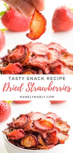If you want to enjoy strawberries longer, try making these yummy Dried Strawberries! It's perfect for oatmeal, granola, trail mix or even as a snack. Learn the secret to perfect oven-dried strawberries and more! #driedstrawberries #driedfruit #strawberryrecipes #namelymarly Vegan Sandwich Recipes, Best Vegan Recipes, Vegan Blogs, Vegan Dessert Recipes, Vegan Breakfast Recipes, Veg Recipes, Vegan Snacks, Yummy Snacks, Snack Recipes