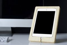 Bamboo iPad Dock - allows for hands free viewing and saves desk space. #gift #ipad