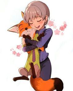 Human and fox