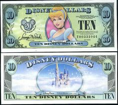Disney Dollars are a form of currency that can be used at Disney theme parks and the Disney store. Backed up by real money, each Disney doll. Disney Theme, Disney Art, Disney Pixar, Cinderella Disney, Disney Money, Disney Trips, Printable Play Money, Happy Birthday Disney, Disney Gift Card