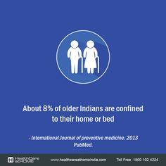It is reported that about 8% of older Indians are confined to their home or bed. The proportion of such home bound people rose with age to 27% after the age of 80 years.