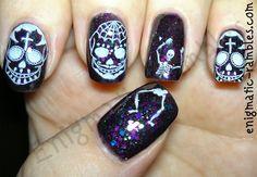 sugar-skull-skeleton-nails-nail-art-stamped-bundle-monster-413-hare-polish-midsummers-midnight