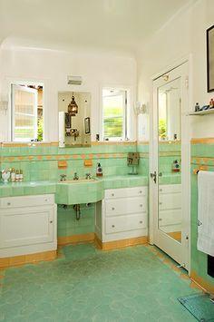 Debi Mazar Gallery green and yellow vintage tile in an art deco bathroom Yellow Bathrooms, Vintage Bathrooms, Bathroom Green, 1930s Bathroom, White Bathroom, Modern Bathroom, Small Bathroom, Master Bathroom, Art Deco Bathroom