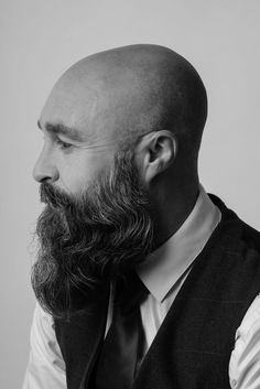 Bald Men With Beards, Bald With Beard, Grey Beards, Long Beards, Hairy Men, Bearded Men, Viking Beard Styles, Beard Styles For Men, Hair And Beard Styles