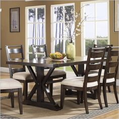 Pulaski Del Ray Rectangular Table - Features: Crafted from burnished and distressed ash veneers and hardwood solids Patinaed metal trim complement the rich wood tones Rectangular table shape Table seats 8 people comfortably