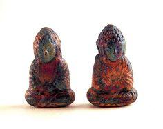 SALE 2 Buddha Beads, Sitting Buddha, 22mm, Raku Buddha Beads, Buddha Amulet, Zen Bead, Tribal Buddha, Primitive Buddha, Raku Buddha QQSC04