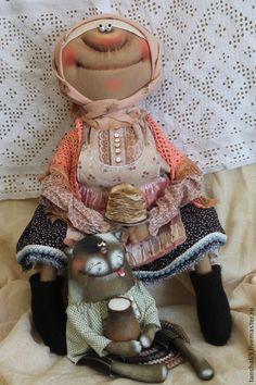 Блинчики со сметанкой! - разноцветный,примитив,примитивная кукла,текстильная кукла