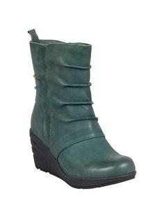Miz Mooz Tora Leather Ankle Boot Wedge in Green.