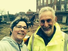 Bridget helping with the Dissenter's Graveyard Clean up in Exeter With Martin Dyer the lovely Supervising Archaeologist http://www.cartridgeslaw.co.uk/latest-news/dissenters-graveyard-clean-up