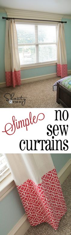 Easiest Ever No Sew Curtains! @shanty2chic.com