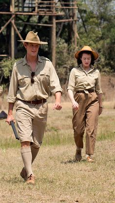 "Claire Foy and Matt Smith in a ""royalty on safari"" look from 'The Crown' (2016). Costume Designer: Michele Clapton."
