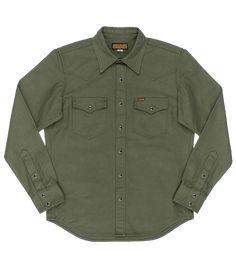 IHSH-235-OLV - 13oz Military Serge Western Shirt - Olive | James Dant - Purveyors of Men's Goods Cut Shirts, Western Shirts, Westerns, Military Jacket, Long Sleeve Shirts, Iron, Classic, Fabric, Sleeves
