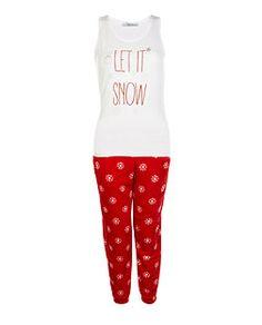 """Ensemble pyjama rouge en polaire à imprimé """"Let It Snow"""" pour ados   New Look"""