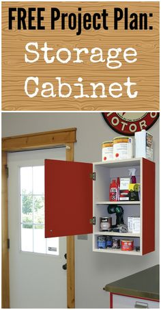 Easy-to-build upper call storage cabinet, perfect for your garage or shop. Kreg Jig Projects, Scrap Wood Projects, Woodworking Projects For Kids, Woodworking Wood, Woodworking Guide, Home Improvement Projects, Home Projects, Furniture Plans, Wood Furniture