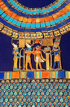 Pectoral, The god Amun-Re receives the pharaoh, Tutankhamun treasure, Museum of Egyptian Antiquities, Cairo, Egypt,