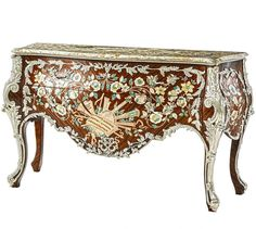 French Rococo Louis XV Bombe Dresser Commode Inlaid Rosewood Mother of Pearl Vintage Cabinet, French Rococo, Dresser, Pearls, Ebay, Vintage Armoire, Powder Room, Beads, Stained Dresser
